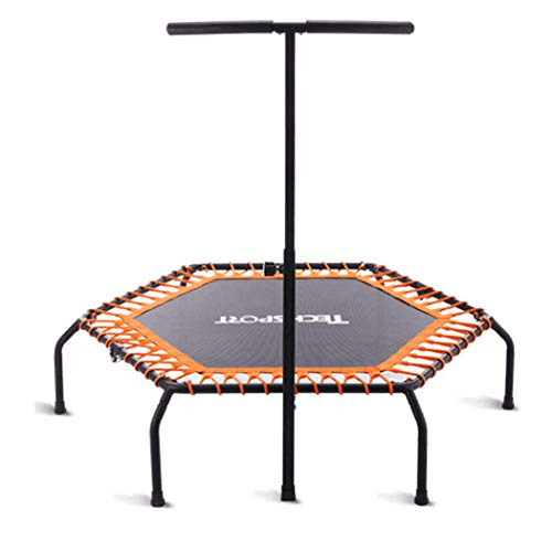 KOQIO Indoor Fitness Trampoline with Handle Bar, 48' Indoor Fitness Bouncer with Safety Enclosure Net for Exercise Jumping Trampoline Height Adjustable,Orange