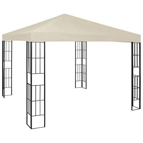 Goliraya Garden Gazebo Marquee Tent with anti-UV PA Coating Roof Stable Steel Frame for Outdoor Wedding Family Party 3x3 m Cream