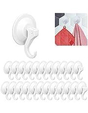 24x ophanghaken met zuignap, set, sterk, voor muren & deuren, handdoekhaakjes zonder boren, D:6 cm, wit