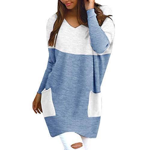 Masrin Mask Frauen Pullover Casual Color Block Patchwork Pullover Sweatshirt V-Ausschnitt Langarm Baggy Strickpullover Kleid Mit Tasche(XL,Blau)