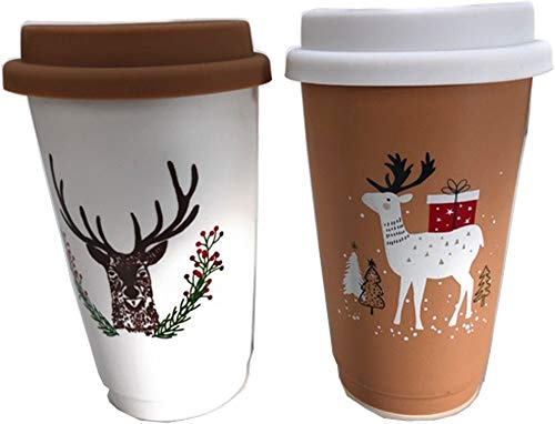 Hoff Cup to go - Set di 2 tazze da viaggio con cervo e renna, in porcellana