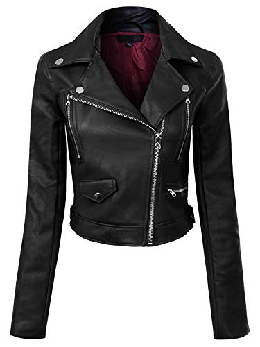 Design by Olivia Women's Long Sleeve Zipper Closure Moto Biker Faux Leather Jacket Black L
