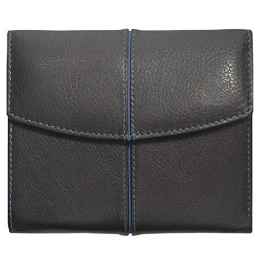 Geldbörse mit Namensprägung, THE BEST, Damen und Herren Geldbörse, Leder, schwarz/blau