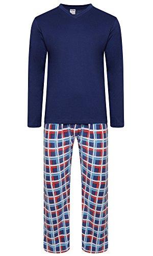 Herren-Pyjama-Set, warmes Fleece-Jersey, Winter, Nachtwäsche Gr. L, Navy / Multi Check Pant (MPJ)