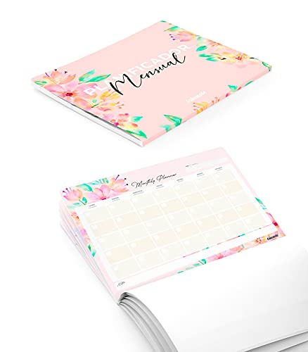 Takenote Agendas- Planificador Mensual Perpetuo Bloom - Tamaño A4: 31,5 x 23 cm - 56 hojas - Encolado inferior