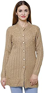Matelco Women's Wool Round Neck Cardigan (AD004SA01BR_Brown_Free Size)