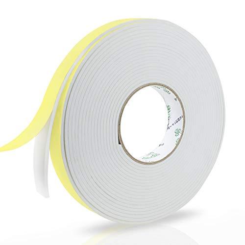 Schaumstoff Selbstklebend, Moosgummi Selbstklebend Weiß 25mm(B) x10m(L), Schaumstoff Dichtungsband für Tür Fenster, Wetterfest, Anti-Kollision Schalldämmung Wasserdicht Staubdicht
