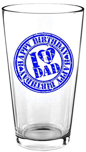 Geburtstagsgeschenk für Männer – I Love U Dad, Happy Birthday Bierglas – Perfektes Geburtstagsgeschenk für Papas 40, 45. oder 50. Geburtstag. Pint-Glas für ein tolles Geburtstagsgeschenk, 473 ml