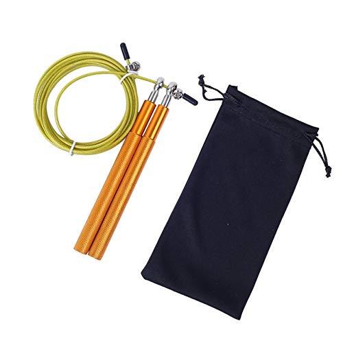 Combas de Fitness 3 Metros Bearing Saltar la Cuerda Doble Sacudiendo manija del Juego Metal Aluminio Entrenamiento de la Aptitud Profesional Cuerda para Saltar (Color : Gold)