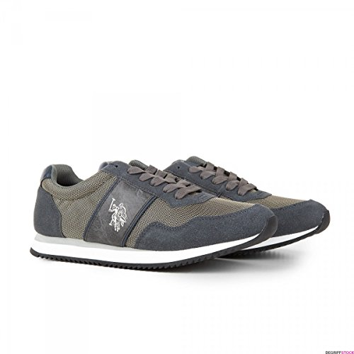 Herren-Sneakers US Poloshirt aus Leder, Braun, Grau - grau - Größe: 42 EU