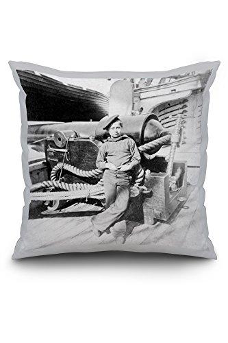 Charleston, SC - Powder Monkey aboard U.S.S. New Hampshire Civil War Photograph (16x16 Spun Polyester Pillow Case, Black Border)