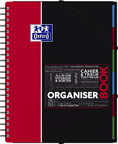OXFORD 400019524 Organiserbook Studium Digitaler Collegeblock A4 kariert 80 Blatt - Zufallsfarbe, kein Farbwunsch möglich (sortiert)