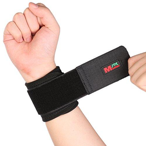 Mumian Handgelenkbandage, verstellbar, klassisch, elastisch, Einheitsgröße, Schwarz, 2 Stück, Schwarz , Free Size, Suitable for wrist circumference less t