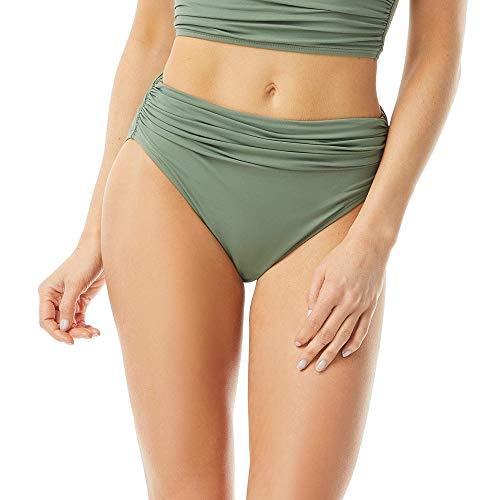 Carmen Marc Valvo Women's Classic Shirred Waist Bikini Bottom, Desert SAGE 312, Large