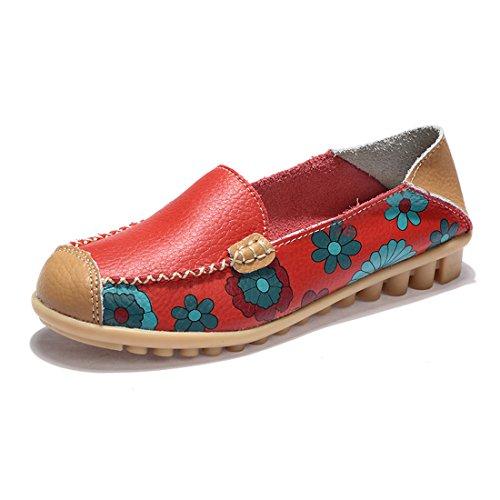Z.SUO Mujer Mocasines de Cuero Moda Loafers Casual Zapatos de Conducción Zapatillas(41 EU,Rojo)