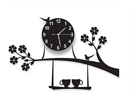 Eugle Mart 3D Acrylic Wall Clock Tree Bird Coffee Cup On Jhula Design for Living Room, Bedroom Wall, Home and Office - Black