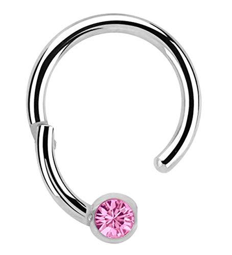 Modern Nature Piercing-Schmuck Lippenpiercing 316l Stahl Ring BCR, Clicker 1,2 x 8 mm mit 3 mm Steinplatte in rosa