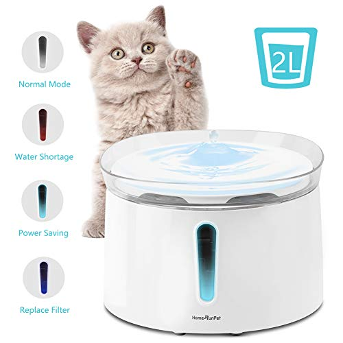 HomeRunPet Cat Water Fountain, 68oz/2L Automatic Pet Water Dispenser, Ultra Quiet Indoor Intelligent Pet Fountain for Multiple Pets