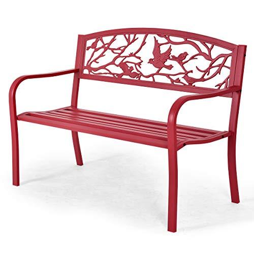 DREAMADE Gartenbank Metall, Garten Sitzbank Outdoor, Eisenbank für 2-3 Sitzer, Sitzbank mit Armlehnen, Parkbank Gartenmöbel (Rot)
