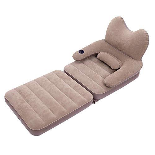 Kyman Lit pneumatique Simple, AIRBED avec tête de lit Matelas d'air Gonflable floqué Sofa avec Support Pillow et Coupe for l'intérieur Guest Rest Outdoor Camping Voyage