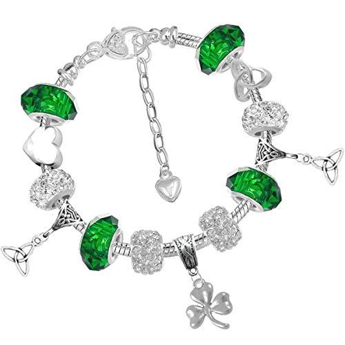 Celtic Heart Triquetra Shamrock St Patricks Day Charm Bracelet with Gift Box