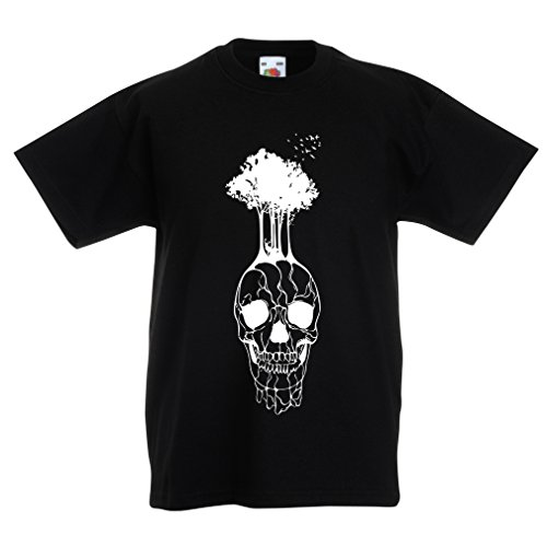 N4341K La Camiseta de los niños El cráneo y el árbol (9-11 Years Negro Multicolor)