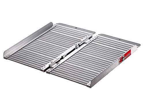 FTsolid 0,6m mobile Rollstuhlrampe aus Aluminium klappbar 60cm Länge x 70cm Breite, für Rollstuhl oder Rollator, Auffahrrampe für Treppen, Rampe