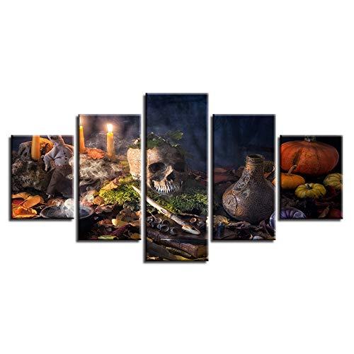 SDBY 5-delige muurschildering op canvas, abstract schilderij, decoratie bedrukt woonkamer kunst van de muur 5-delig kaars rook- en doodskopposter canvas