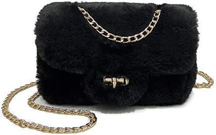 Women Girls Plush Purse Handbag Fluffy Crossbody Shoulder Bag Evening Clutch B Black product image