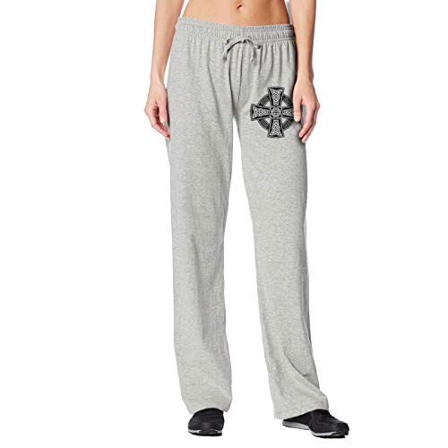 Celtic Cross Knot Irish Womens Athletic Long Sweatpants Sleep Bottoms Comfy Print Elastic Lounge Pants Wide Leg Gray