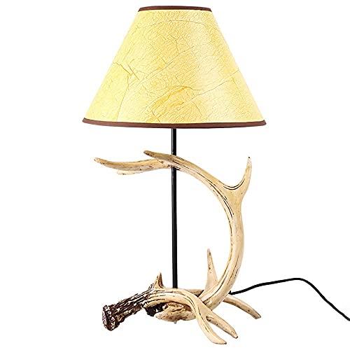 Lámparas decorativas de lámpara de mesa de asta retro, luz de escritorio personalizado para el hogar, interruptores rotativos Tabla de mesa de noche Luces de estudio de la sala de estar