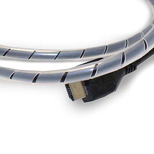 Flexowire Kabelspirale Spiralkabelschlauch 10 m 4-50 mm transparent Kabelschlauch mit flexibler Bündelweite zum Bündeln von Kabeln z.B. am Computer, TV, HiFi-Anlage