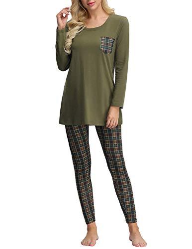 Schlafanzüge Damen Langarm Rundhal Pyjama Set Schlafoberteil und Kariert Pyjamahose Grün XL