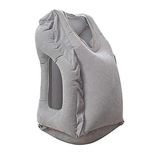 WUCHENG Bolsa de Dormir de Viaje Inflable Almohada de Cuello de cojín portátil para Hombres Tren de Vuelo de avión al Aire Libre El Dormir fácil Almohada (Color : Grey)
