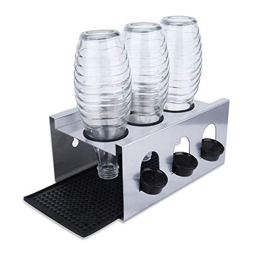 ELOSIS Abtropfhalter für SodaStream,3er Edelstahl Flaschenhalter für SodaStream - Abtropfgestell mit Abtropfwanne für Soda StreamCrystal   Emil Flaschen -Abtropfständer