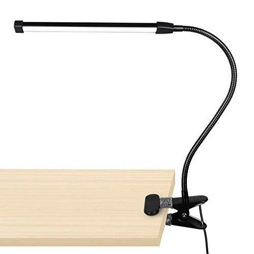 Skrivbordslampa, 10 dimbar ljusstyrka 3 ljuslägen läslampa, studielampa, kläm-på hantverk lampa USB-plug-in driven