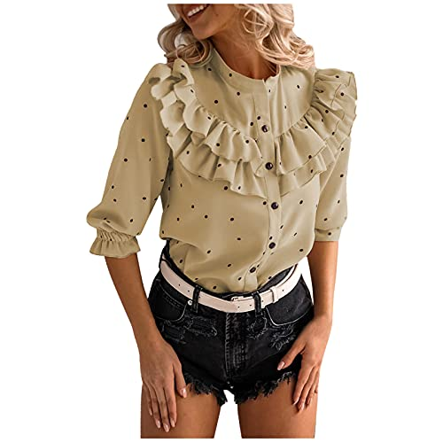 Camisa de Manga Corta con Cuello Redondo Y Botones con Volantes para Mujer Camiseta de Lunares Tops Blusa
