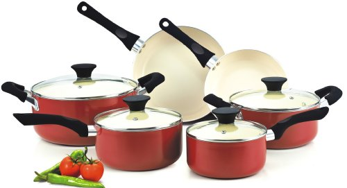 Cook N Home NC-00359 Ceramic coating cookware set, 10-Piece, Red