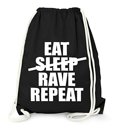 MoonWorks Cooler Techno Turnbeutel, Eat Sleep Rave Repeat, Party Festival Beutel Tasche aus Stabiler Baumwolle, Gymbag schwarz Unisize