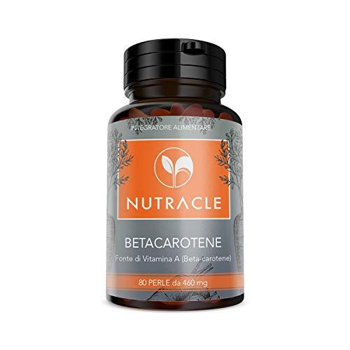 NUTRACLE Beta carotene 80 perle da 460 mg | Integratore per la vista | Per un'abbronzatura più intensa e duratura | Alta disponibilità di ProVitamina A