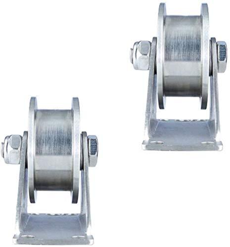 201 Rueda de riel de puerta deslizante con ranura de polea de acero inoxidable rueda de servicio pesado 2 piezas rodamientos dobles mudos para riel de cable puerta corrediza (ancho de r