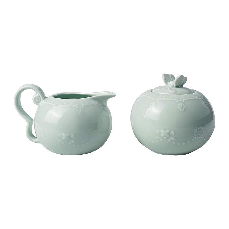 Ceramic Green Creamer and Sugar Set with Lid Creamer Sets Sugar Bowl Set of 2