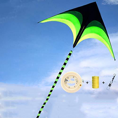 Medium weide driehoekige kite voor kinderen en volwassenen, groot outdoor-speelgoed voor beginners, zeer eenvoudig te vliegen een kit rugged 200 x 100 cm (78,74 x 39,37 in), Kite + 700 m lijn