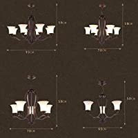 WEI-LUONG LED ペンダントランプ国レトロリビングルームシャンデリアランプレストランのガラスの形状アイアンランプアンティークアイアンの高品質レトロな照明3灯/ 5ライト/ 6ライト/ 8灯、8灯/ 93 * 59センチメートル 天井照明 (Color : 5 Lights/70*59cm)