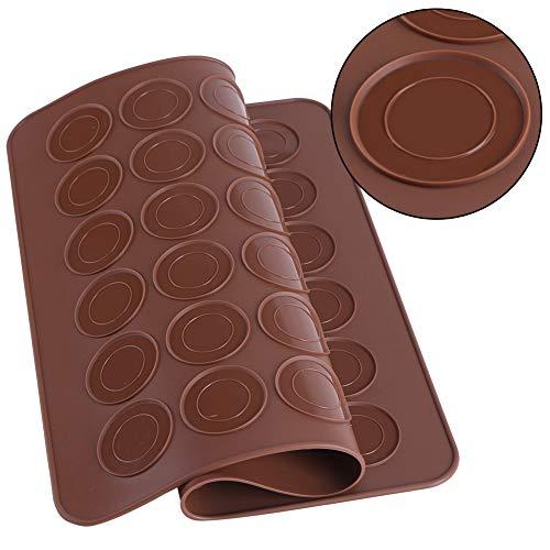 Backmatte für Macarons aus Silikon,48 Löcher Macarons Silikonmatte Silikonform Antihaftbeschichtet Mold Makronenplätzchen Gebäck DIY Backgeschirr Dekorationswerkzeuge