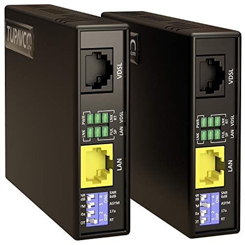 Tupavco Kit Extensor Ethernet TEX-100 por Alambre de Cobre Trenzado en Línea Telefónica o Cable RJ45 - hasta 2 Km - Red LAN Extensión Gran Alcance - Repetidor Amplificador de Banda Ancha VDSL - 1 Par