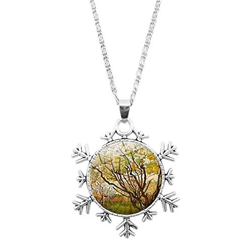 DZX Time Gemstone Jewelry,Autumn Trees Van Gogh Oil Painting Art,Christmas Snowflakes Bracelet European And American Necklace Jewelry Crystal,Fashion Gift