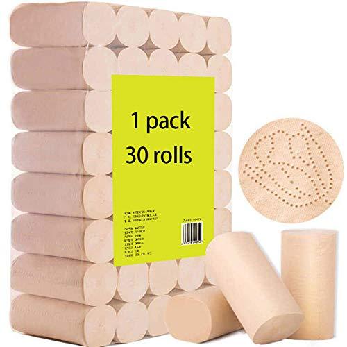 ZNSBH Professioneel ultra-toiletpapier, 4-laags standaard rollen, huishoudelijke hand-Mega-toiletpapier, zacht, sterk, zacht toiletpapier, mega papieren handdoeken, biologisch afbreekbaar badpapier, 30 rollen