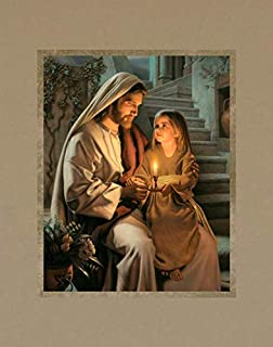 Simon Dewey Let Your Light So Shine 11x14 Mat- Picture of Jesus and Girl- New Testament Art
