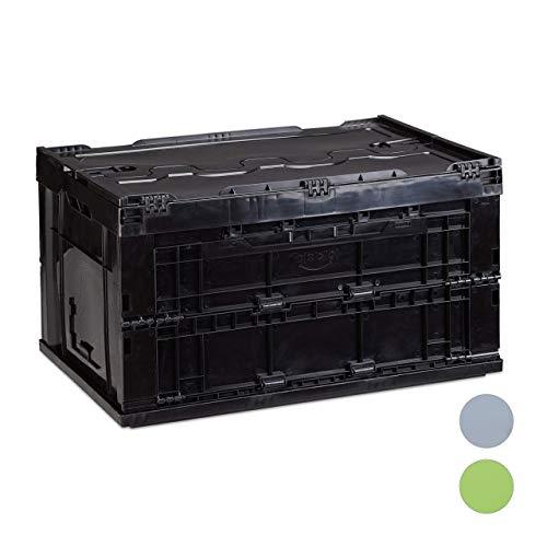 Relaxdays Profi Transportbox, stabil, Gewerbe, hochwertiger Kunststoff, Qualität, 60 L, HxBxT 32,5x58,5x39,5cm, schwarz